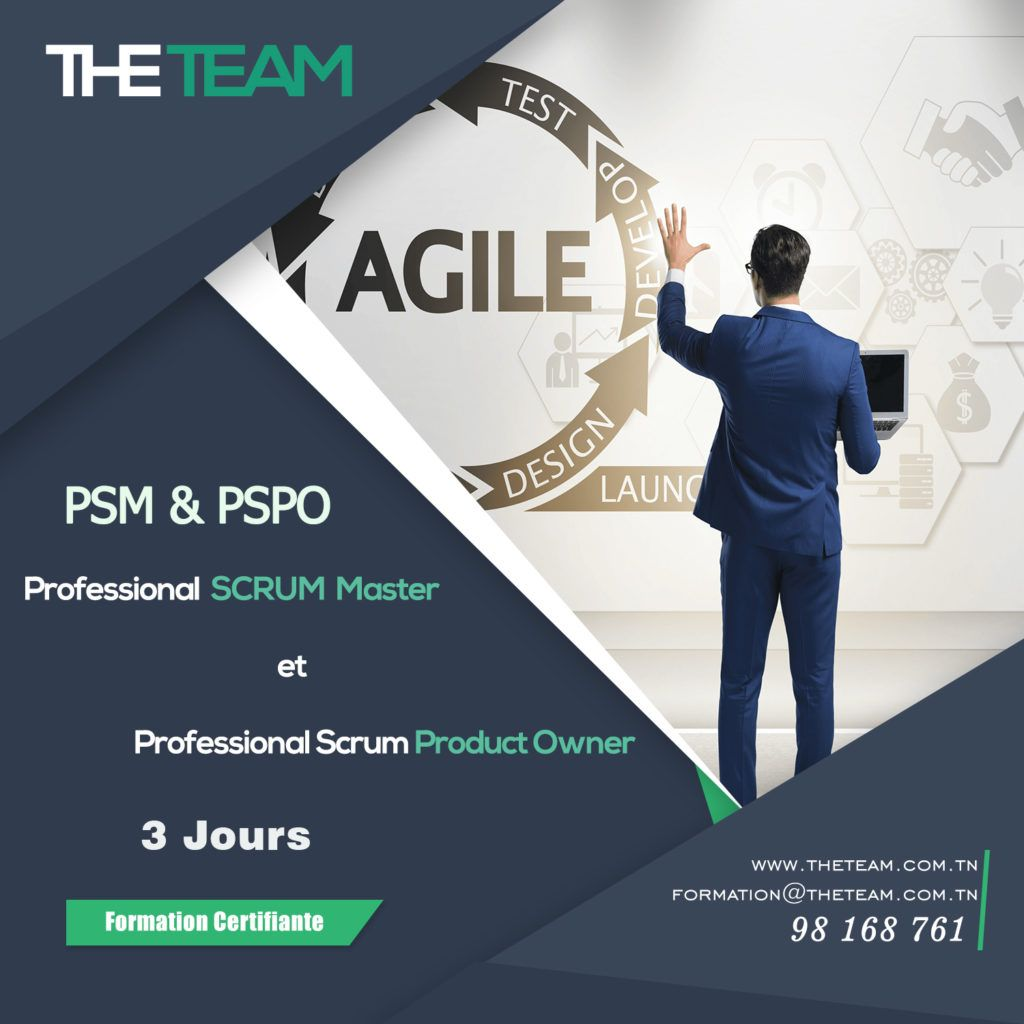 THE TEAM Tunisie Formation Combiné PSM PSPO Scrum Master + Product Owner