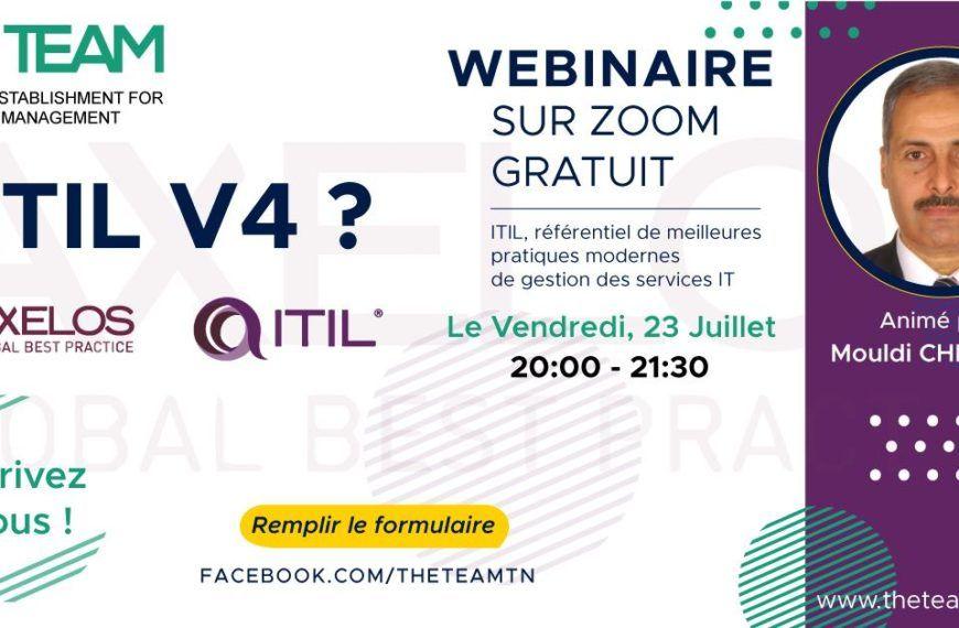 Webinaire ITIL v4 : Information Technology Infrastructure Library